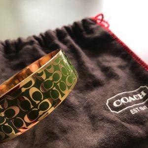 Coach green/gold metal bangle